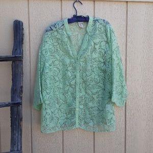 Covington Sheer Floral 3/4 Sleeve Green Tunic Top